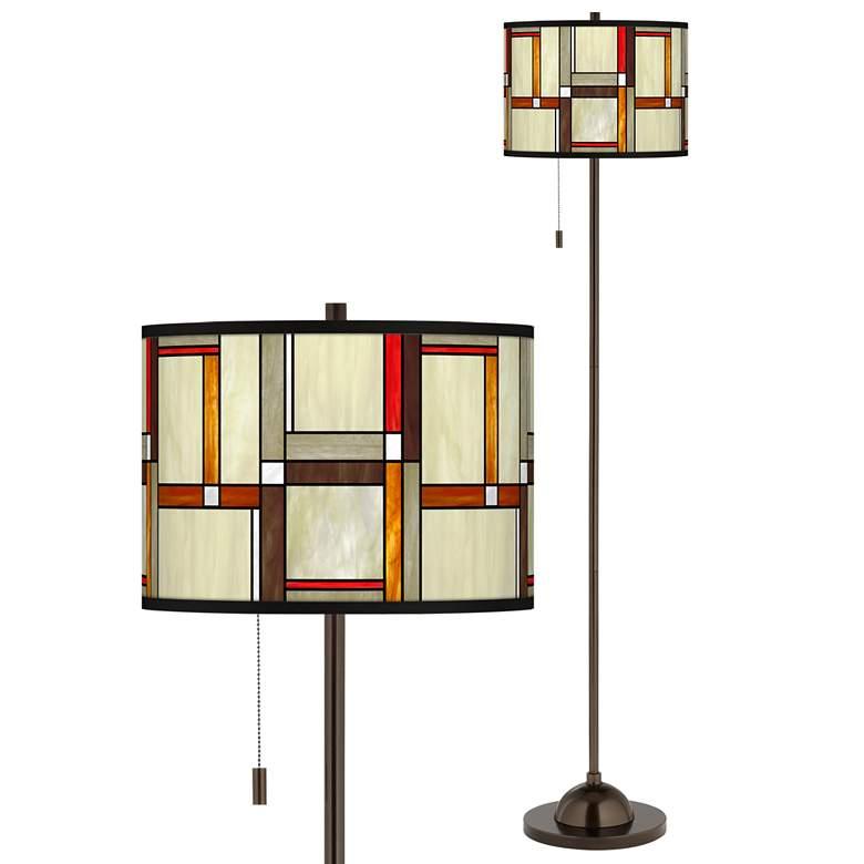 Modern Squares Giclee Glow Bronze Club Floor Lamp