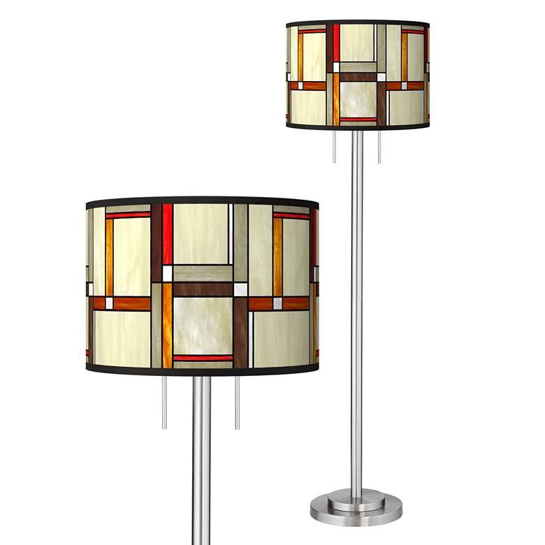 Modern Squares Giclee Brushed Nickel Garth Floor Lamp