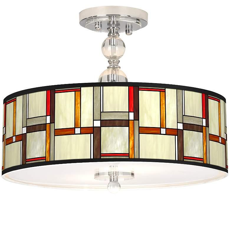 "Modern Squares Giclee 16"" Wide Semi-Flush Ceiling Light"