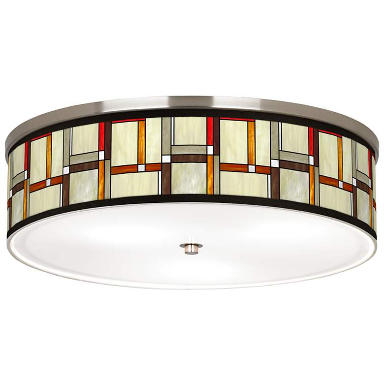 """Modern Squares Giclee Nickel 20 1/4"""" Wide Ceiling Light"""