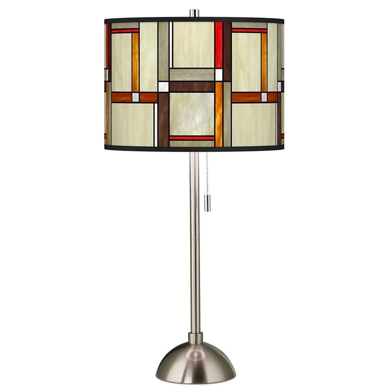 Modern Squares Giclee Brushed Nickel Table Lamp