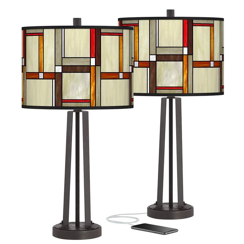 Modern Squares Susan Dark Bronze USB Table Lamps