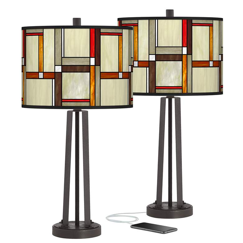 Modern Squares Susan Dark Bronze USB Table Lamps Set of 2