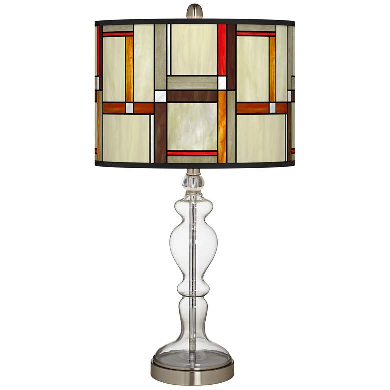 Modern Squares Giclee Apothecary Clear Glass Table Lamp