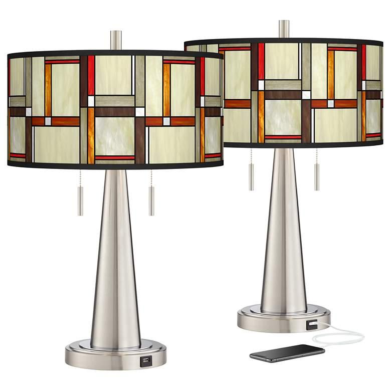 Modern Squares Vicki Brushed Nickel USB Table Lamps Set of 2