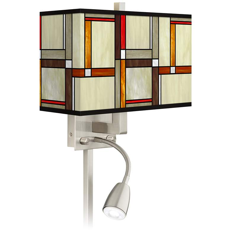 Modern Squares Giclee Glow LED Reading Light Plug-In Sconce