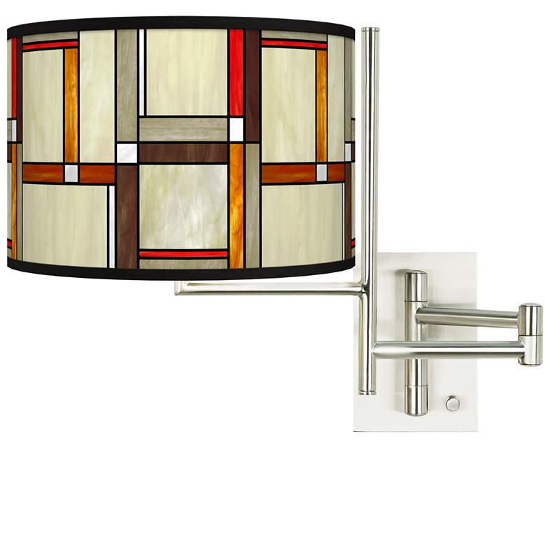 Tempo Modern Squares Plug-in Swing Arm Wall Lamp
