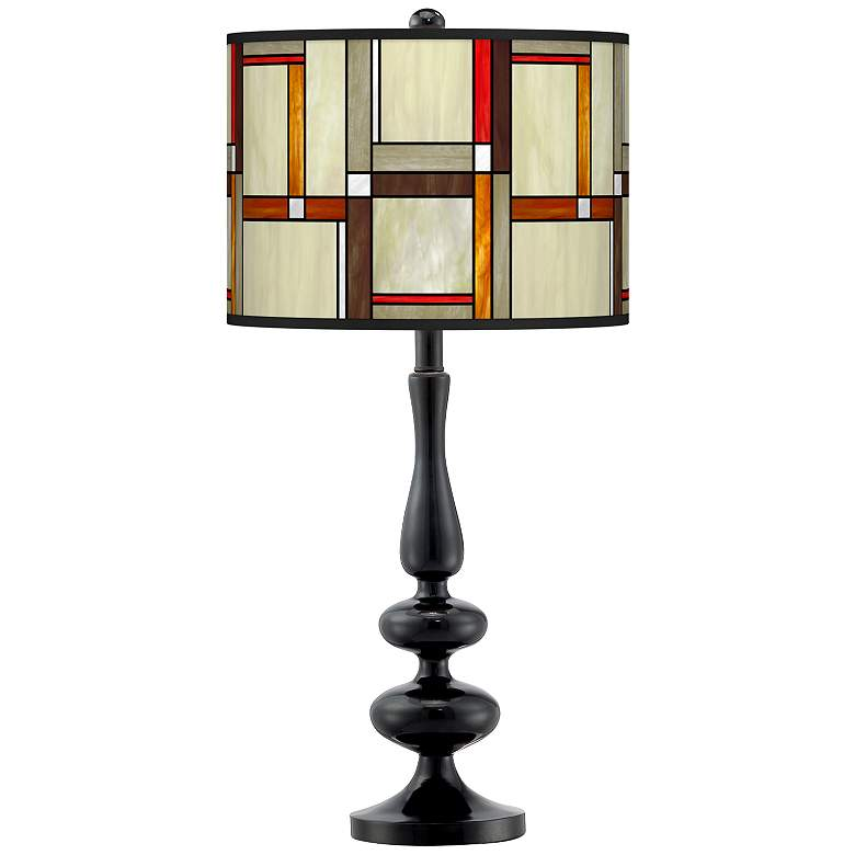 Modern Squares Giclee Paley Black Table Lamp