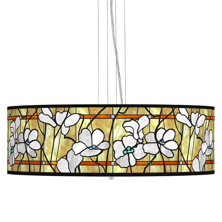 "Magnolia Mosaic Giclee 24"" Wide 4-Light Pendant Chandelier"