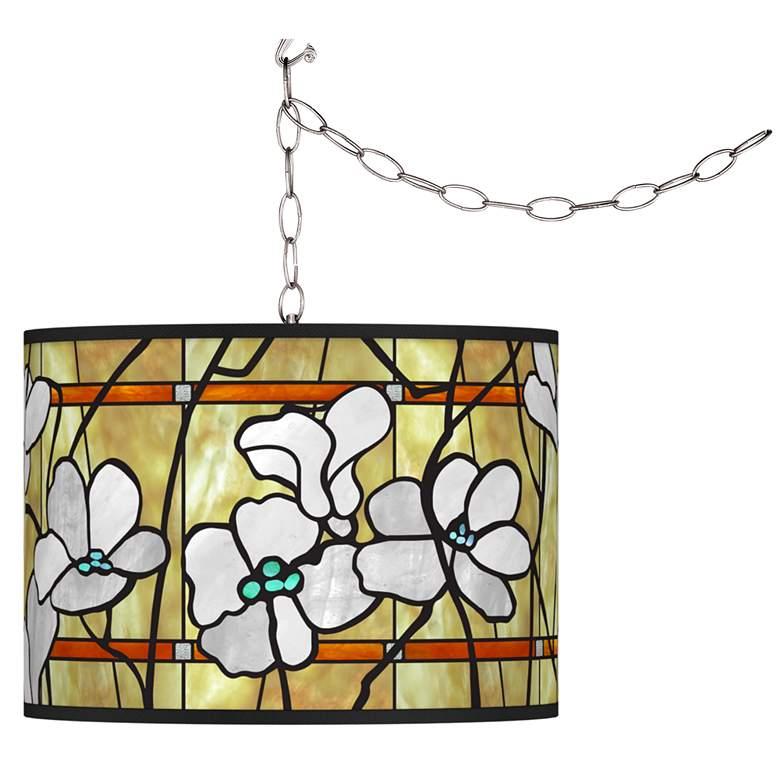Magnolia Mosaic Giclee Glow Plug-In Swag Pendant