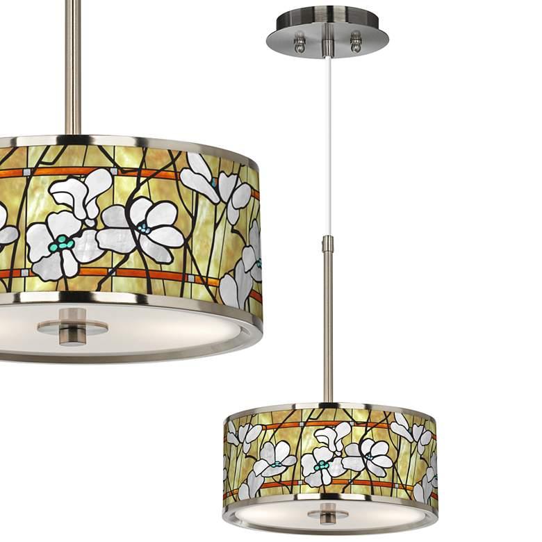 "Magnolia Mosaic Giclee Glow 10 1/4"" Wide Pendant Light"