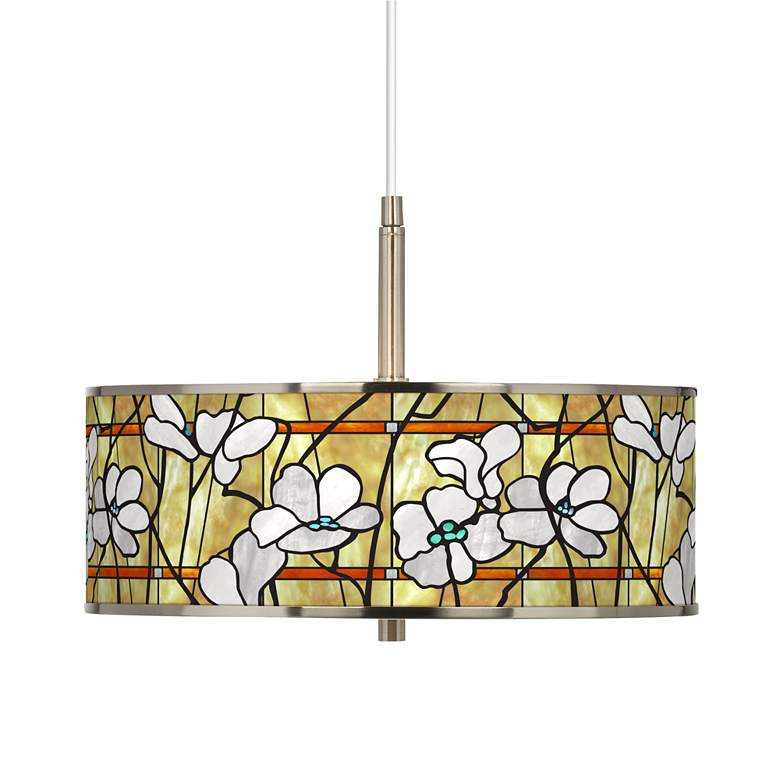 "Magnolia Mosaic Giclee Glow 16"" Wide Pendant Light"