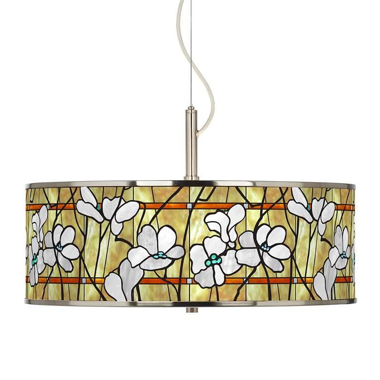 "Magnolia Mosaic Giclee Glow 20"" Wide Pendant Light"