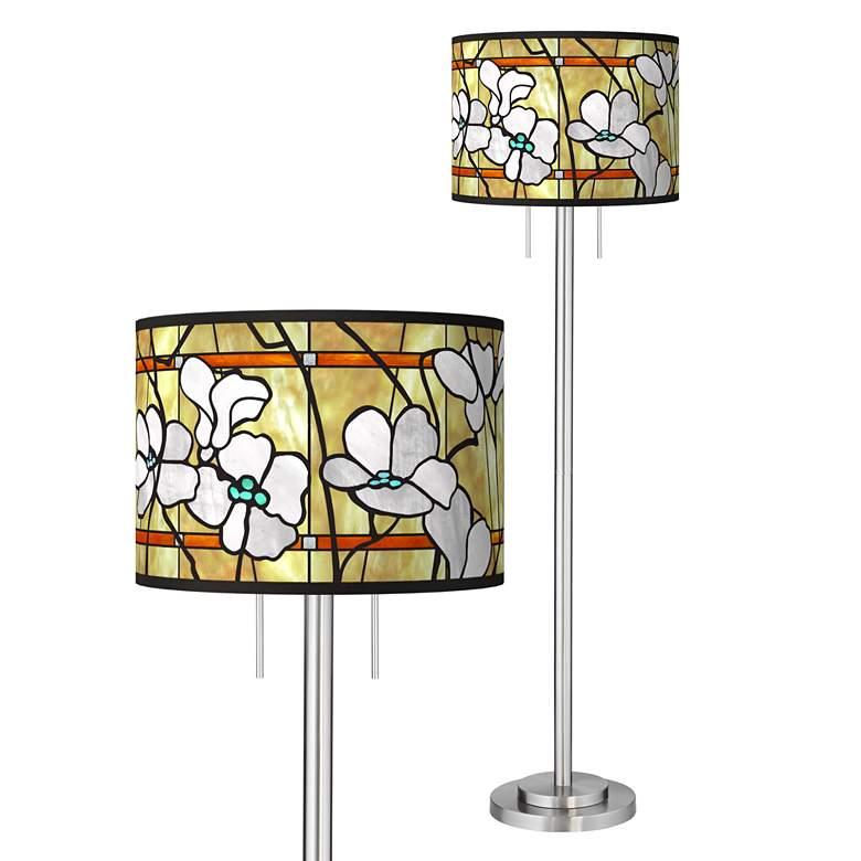 Magnolia Mosaic Giclee Brushed Nickel Garth Floor Lamp