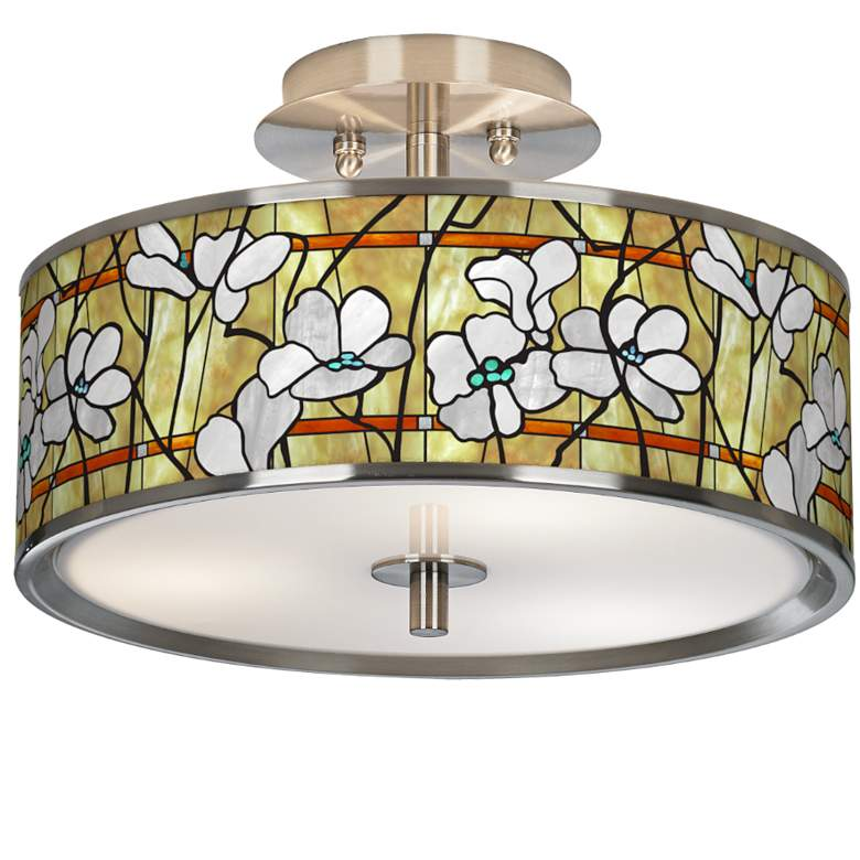 """Magnolia Mosaic Giclee Glow 14"""" Wide Ceiling Light"""