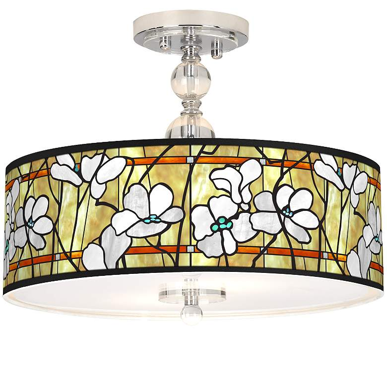 "Magnolia Mosaic Giclee 16"" Wide Semi-Flush Ceiling Light"