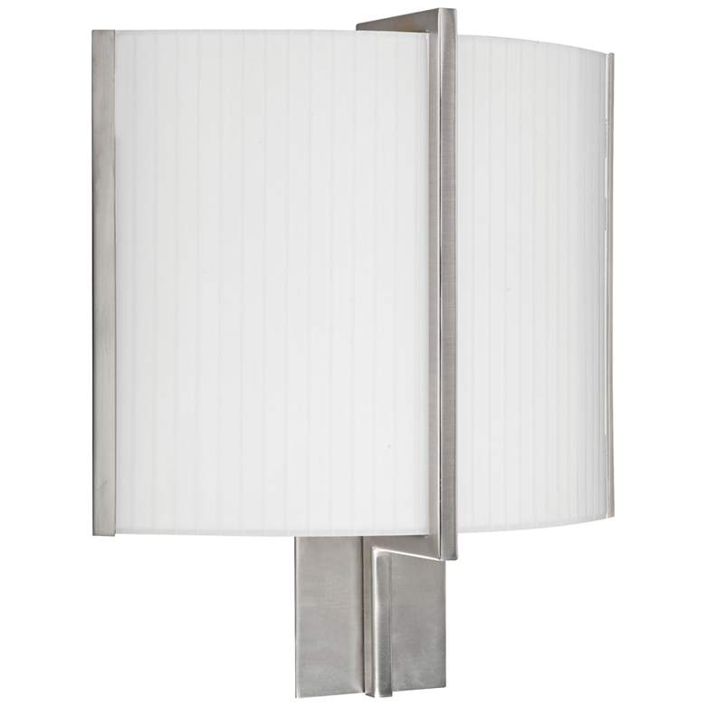 "Delany 15"" High Satin Nickel LED Wall Sconce w/ White Shade"