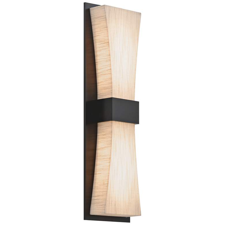 """Aberdeen 19"""" High Espresso LED Wall Sconce with Jute Shade"""