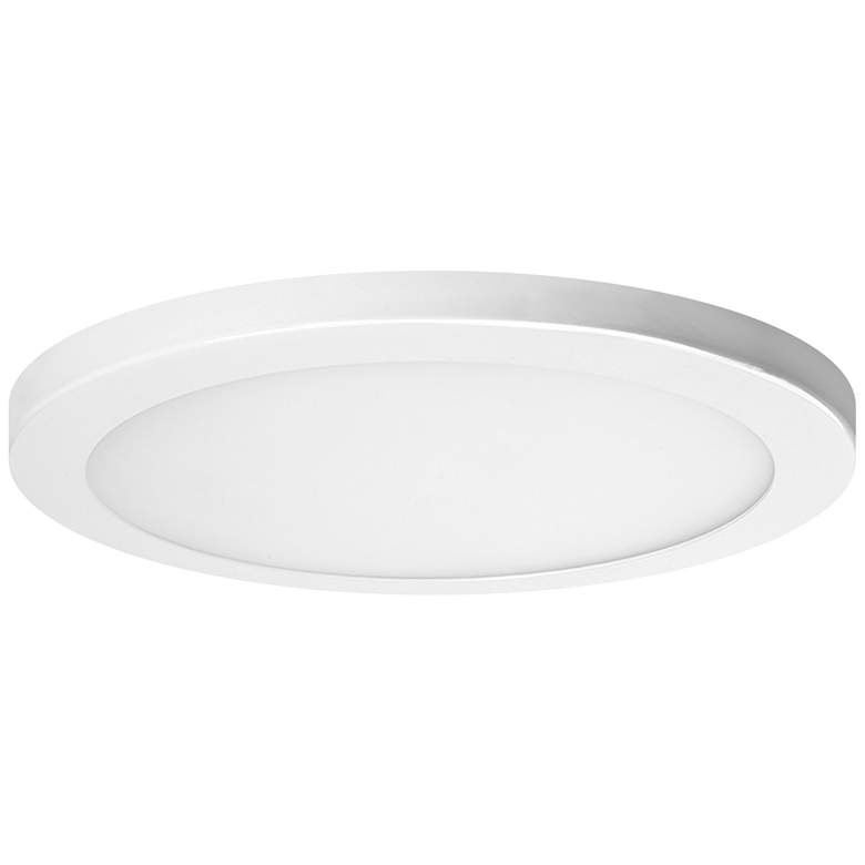 """Platter 9"""" Round White LED Outdoor Ceiling Light with Remote"""