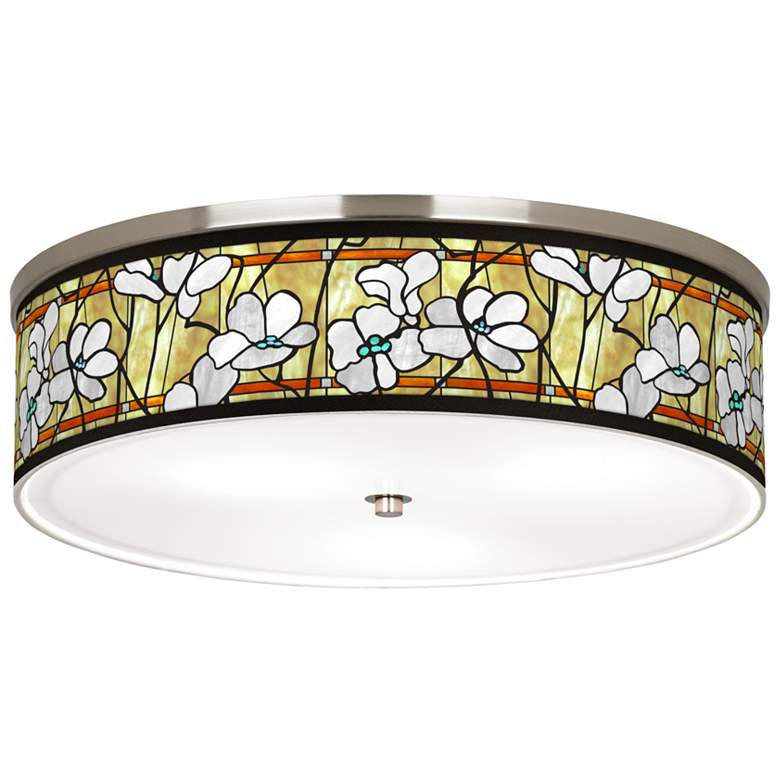 "Magnolia Mosaic Giclee Nickel 20 1/4"" Wide Ceiling Light"