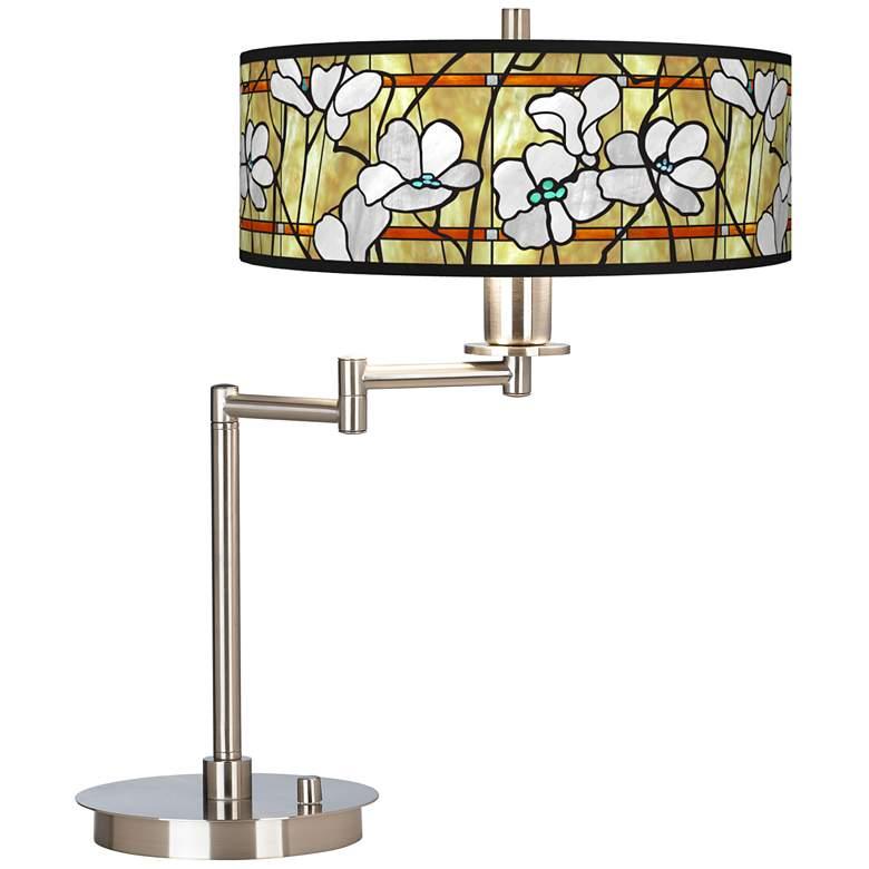 Magnolia Mosaic Giclee Swing Arm LED Desk Lamp