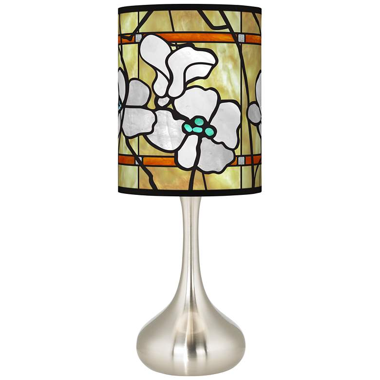 Magnolia Mosaic Giclee Droplet Table Lamp