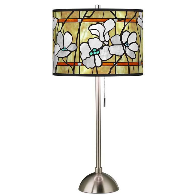 Magnolia Mosaic Giclee Brushed Nickel Table Lamp