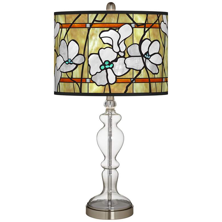 Magnolia Mosaic Giclee Apothecary Clear Glass Table Lamp