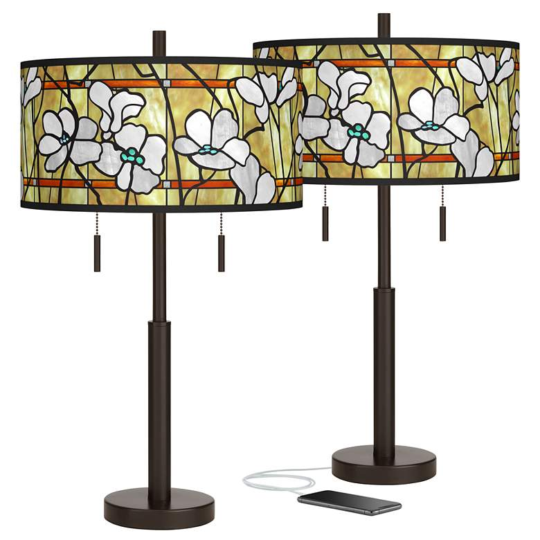 Magnolia Mosaic Robbie Bronze USB Table Lamps Set of 2