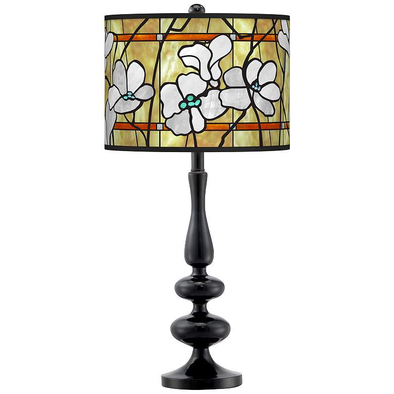 Magnolia Mosaic Giclee Paley Black Table Lamp