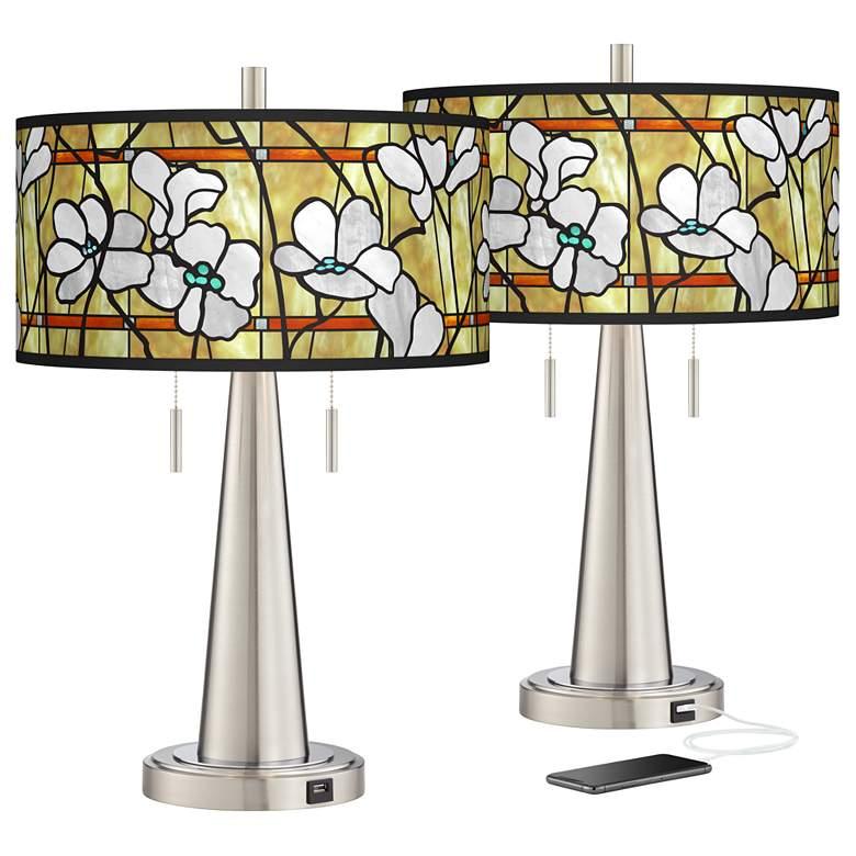 Magnolia Mosaic Vicki Brushed Nickel USB Table Lamps Set of 2