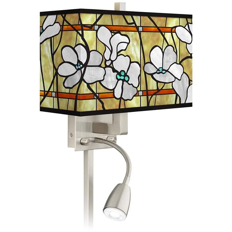 Magnolia Mosaic Giclee Glow LED Reading Light Plug-In Sconce