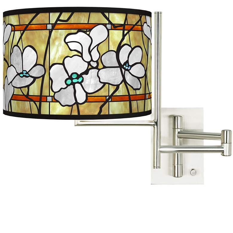 Tempo Magnolia Mosaic Plug-in Swing Arm Wall Lamp