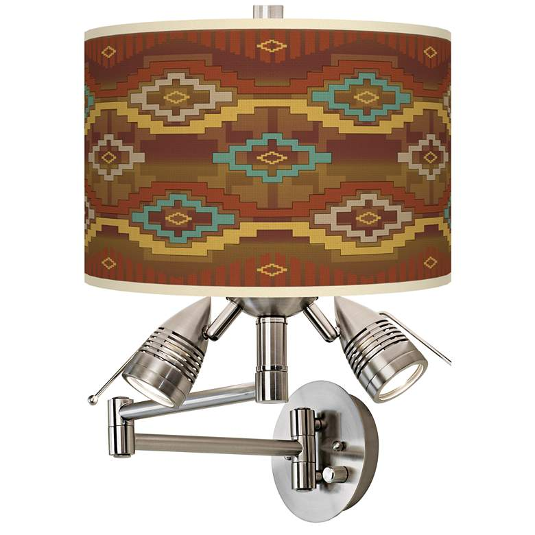 Southwest Sienna Giclee Plug-In Swing Arm Wall Lamp