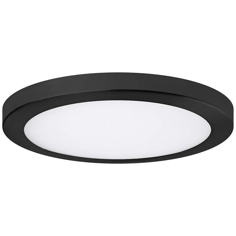 """Platter 11"""" Round Black LED Outdoor Ceiling Light w/ Remote"""