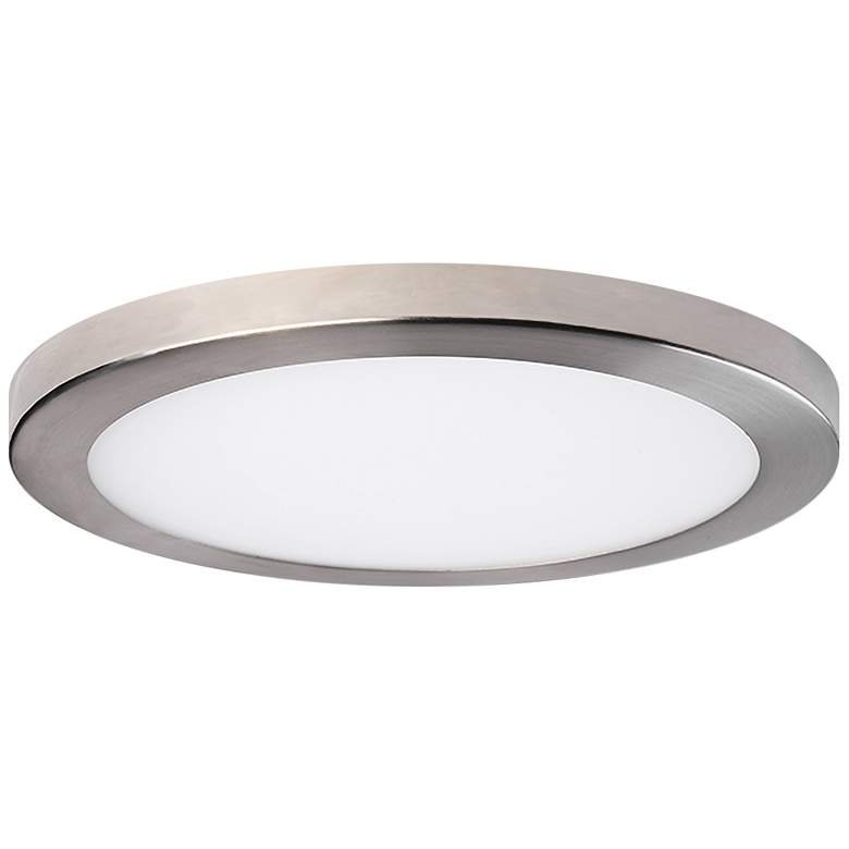 """Platter 11"""" Round Nickel LED Outdoor Ceiling Light w/ Remote"""