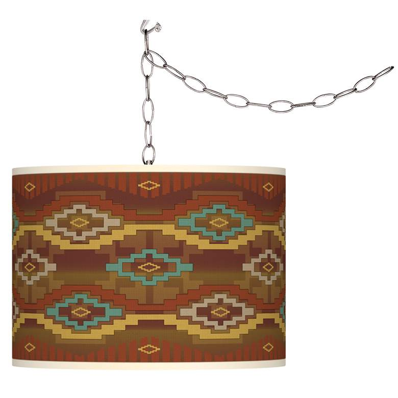 Swag Style Southwest Sienna Giclee Shade Plug-In Chandelier
