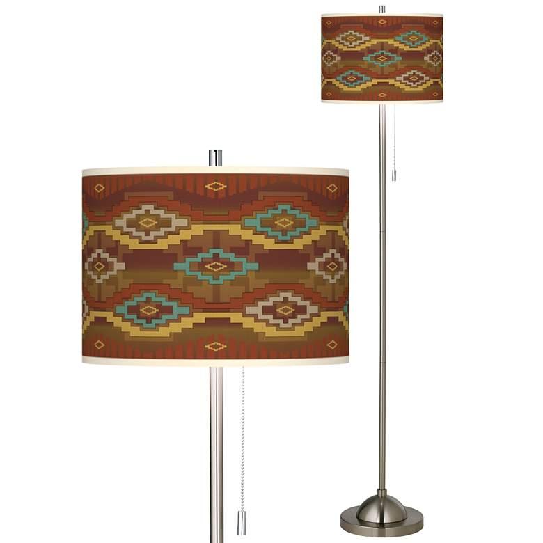 Southwest Sienna Brushed Nickel Pull Chain Floor Lamp