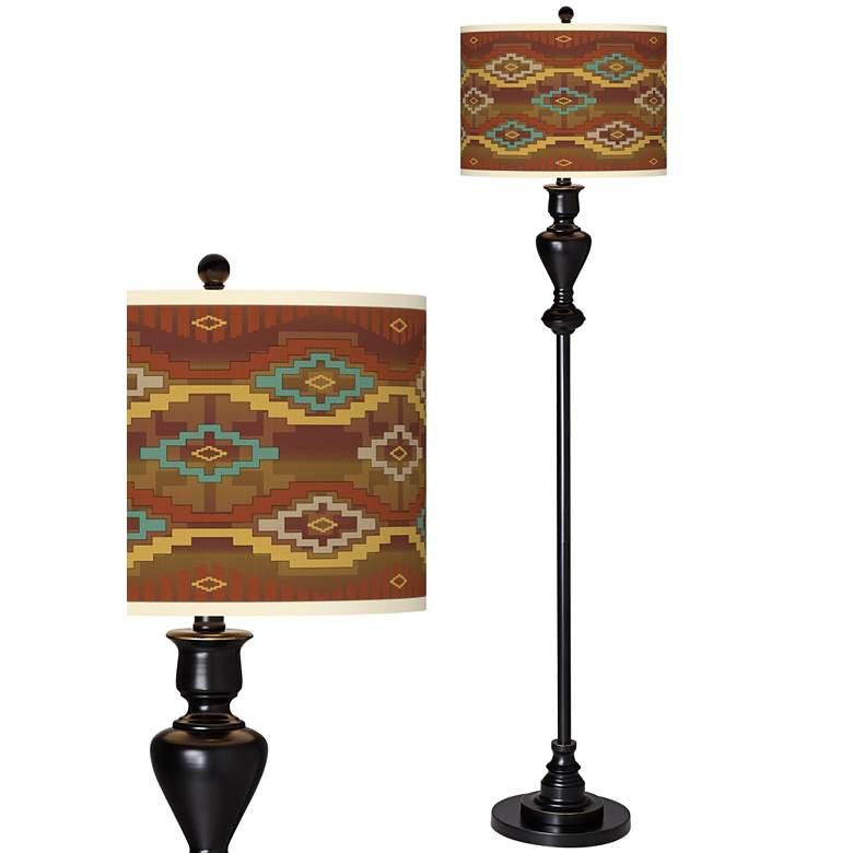 Southwest Sienna Giclee Glow Black Bronze Floor Lamp