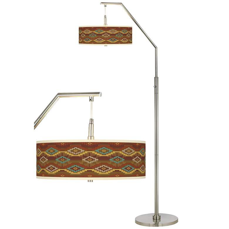 Southwest Sienna Giclee Shade Arc Floor Lamp