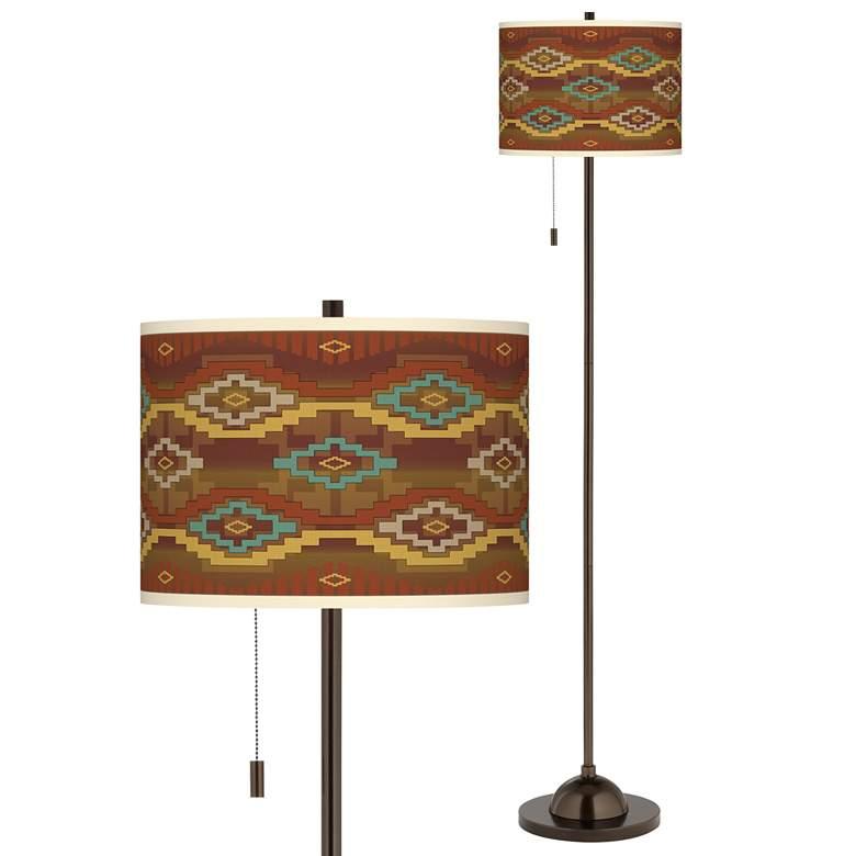 Southwest Sienna Giclee Glow Bronze Club Floor Lamp