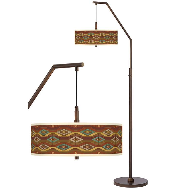 Southwest Sienna Bronze Downbridge Arc Floor Lamp