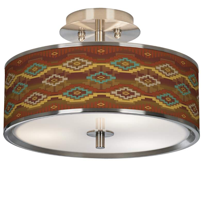 "Southwest Sienna Giclee Glow 14"" Wide Ceiling Light"
