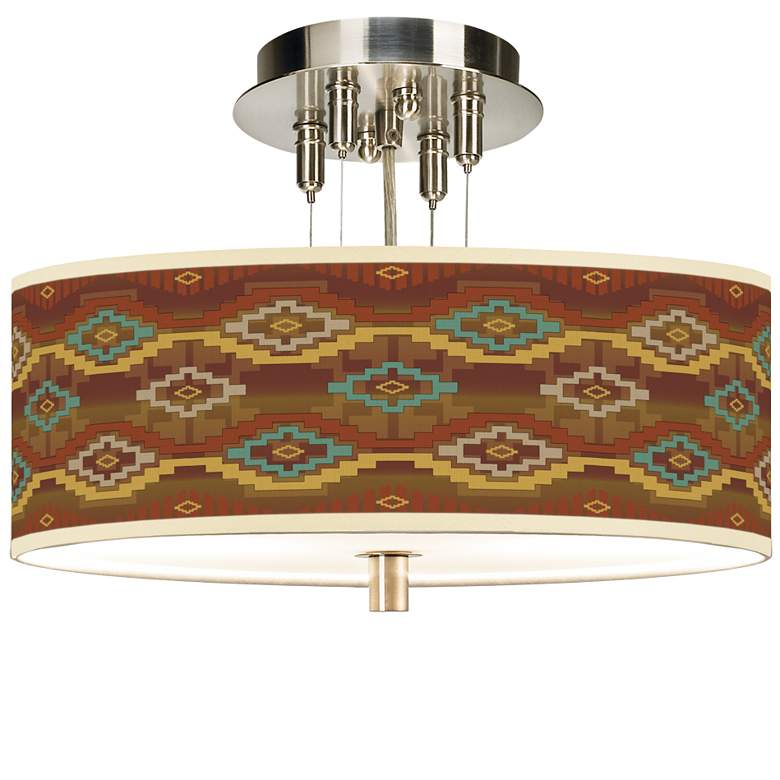 "Southwest Sienna Giclee 14"" Wide Ceiling Light"