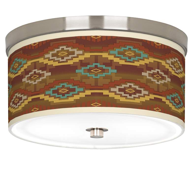 "Southwest Sienna Giclee Nickel 10 1/4"" Wide Ceiling Light"