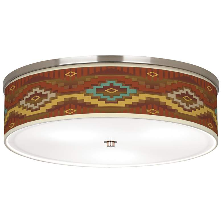 "Southwest Sienna Giclee Nickel 20 1/4"" Wide Ceiling Light"