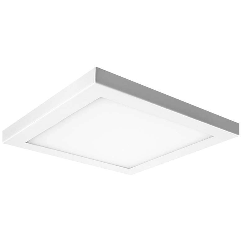 """Platter 9"""" Square White LED Outdoor Ceiling Light w/ Remote"""