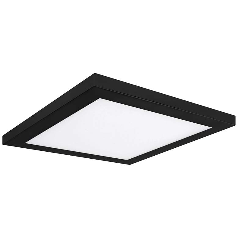 "Platter 9"" Square Black LED Outdoor Ceiling Light w/ Remote"