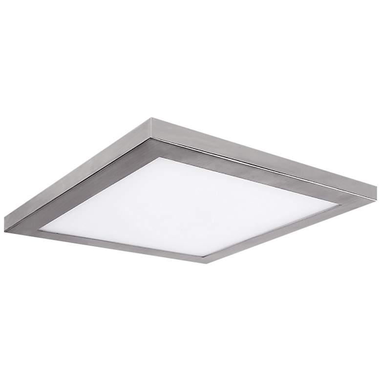 """Platter 9"""" Square Nickel LED Outdoor Ceiling Light w/ Remote"""
