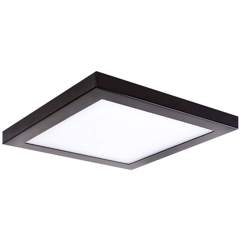 """Platter 11"""" Square Bronze LED Outdoor Ceiling Light w/Remote"""